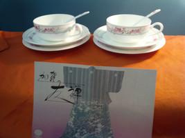 Nikko BONE CHINA 2 CUPS 2 SAUCERS 2 DESERT PLATES 2 SPOONS  ORIGINAL BOX... - $28.30