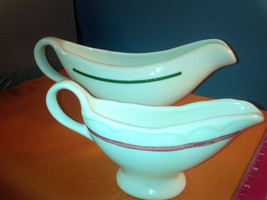 Vintage Homer Laughlin 9 in Gravy Boat  green stipe & 6 in red stripe   (g) - $19.50