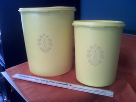 Tupperware Servalier Golden YellowTWO  Canisters,canister,Vintage,/w lid... - $22.42