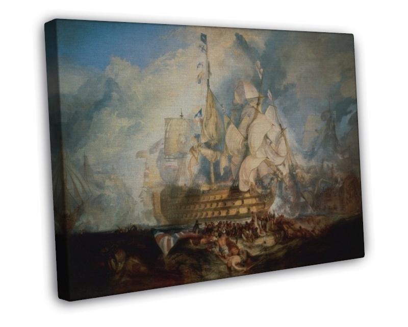 J M W TURNER THE BATTLE OF TRAFALGAR FINE ART 20x16 FRAMED CANVAS Print, used for sale  USA