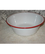 VTG Graniteware Bowl - White w/ Red Trim - $6.00