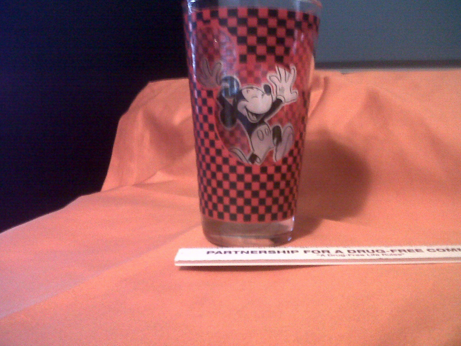 Mickey Mouse Head 3D RedTumbler GlassAnchor Hocking Large Disney    (K)