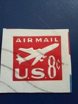 UC36 Airmail 8 cent embossed Postal Stamps square used - $4.00