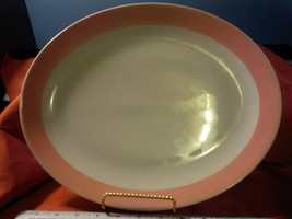 Homer Laughlin Platter BBC-111   10 x 13   ROSE PINK edge    (D-3) - $29.40