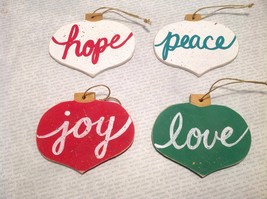 4 Pc Set - Rustic Primitive Handmade Christmas Ornaments - Joy, Love, Peace, ...