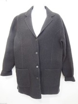 Eileen Fisher Womens Size 8 Black Boiled Wool Jacket Made in Hong Kong - $132.30