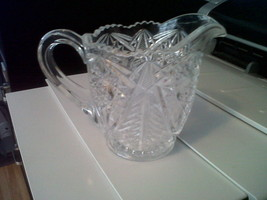 DEPRESSION  GLASS  Clear Glass Star Flower Creamer - $9.77