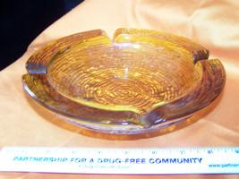 Anchor Hocking SORENO Amber/Yellow Glass Textured AshtrayLarge XL    (E) - $15.56