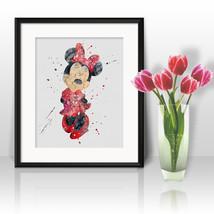 Minnie Mouse Nursery Disney Print Printable Watercolor Art poster Wall D... - $1.75