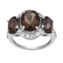 Newest Smoky Shining Gemstone 925 Sterling Silver Women Ring Sz 8 SHRI2435 - $24.55