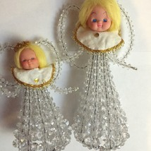 2 VINTAGE HANDCRAFTED CLEAR BEADS CHRISTMAS ANGELS FIGURINE DECOR~GOLD A... - $8.70