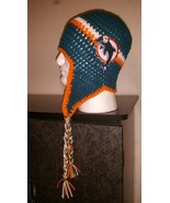 Miami Dolphins Inspired Handmade Crochet Ear Fl... - $28.00