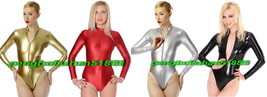 Unisex Sexy Front Zip Short Suit Catsuit 12 Color Shiny Metallic Costumes S693 - $32.99