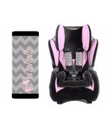 PERSONALIZED BABY TODDLER CAR SEAT STRAP COVERS GRAY CHEVRON PINK BOW - $14.68