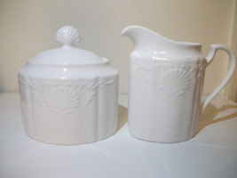 MIKASA HAMPTON BAYS ULTRA CERAM CHINA SUGAR & CREAMER PURE WHITE PRETTY - $37.39