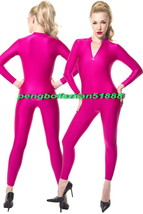 New Hot Pink Lycra Spandex Body Suit Sexy Front Zip Catsuit Costumes Unisex S702 - $32.99