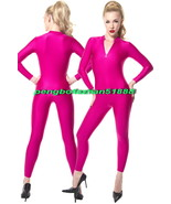 NEW HOT PINK LYCRA SPANDEX BODY SUIT SEXY FRONT ZIP CATSUIT COSTUMES UNI... - $32.99