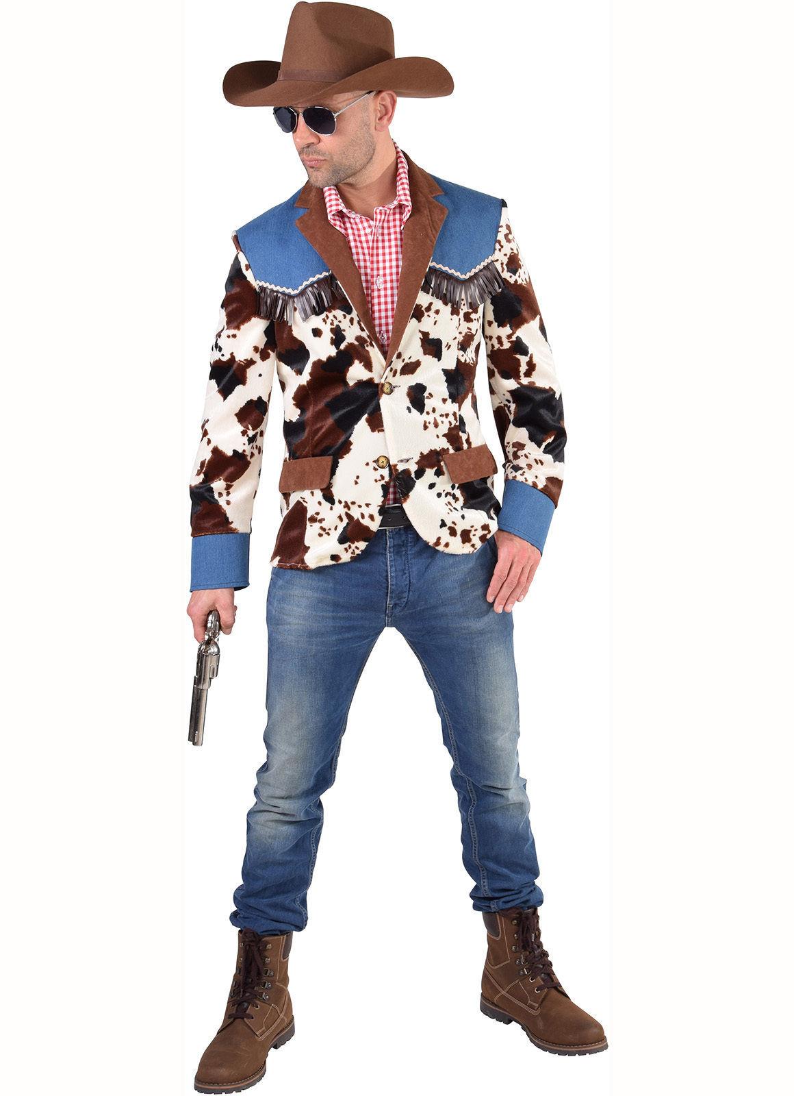 Cowprint / Denim Cowboy Jacket   - XS-XXL