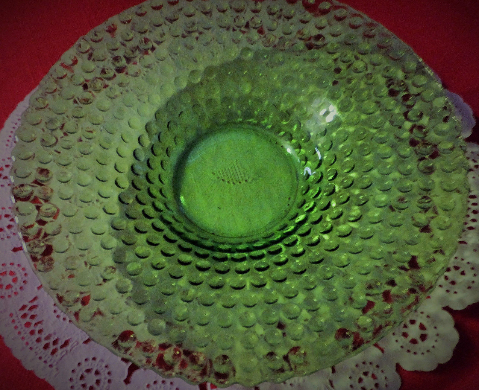 """Vaseline glass, small bowl, Dot pattern, 5 3/4"""" by about 2"""" deep, stunning."""