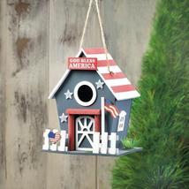Wooden Bird Houses, Wooden Americana Outdoor Bi... - $24.58