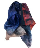 "Scarf Woman Red Blue Black Shawl Lady Fashion Wrap Square 39""x39"" Soft D... - $13.86"