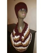Burgundy Mix  Handmade Hat & Cowl Set /Green, G... - $45.00