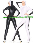 LYCRA SPANDEX SEXY WHITE/BLACK OPEN FACE BODY SUIT CATSUIT COSTUMES UNIS... - $39.99