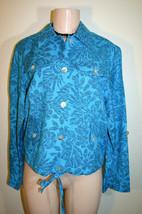 Ruby Rd Sz 8 Turquoise Blue Black Floral Print Linen Blend Tab Sleeve Ja... - $7.59