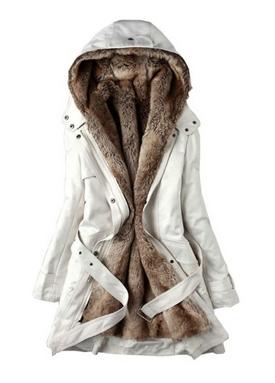 Faux Fur Women Warm Winter Hooded Coat Jacket