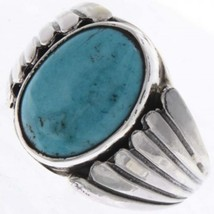 NAVAJO Genuine Natural Sonoran Turquoise Sterling Silver Mens Ring Sizes... - $219.00