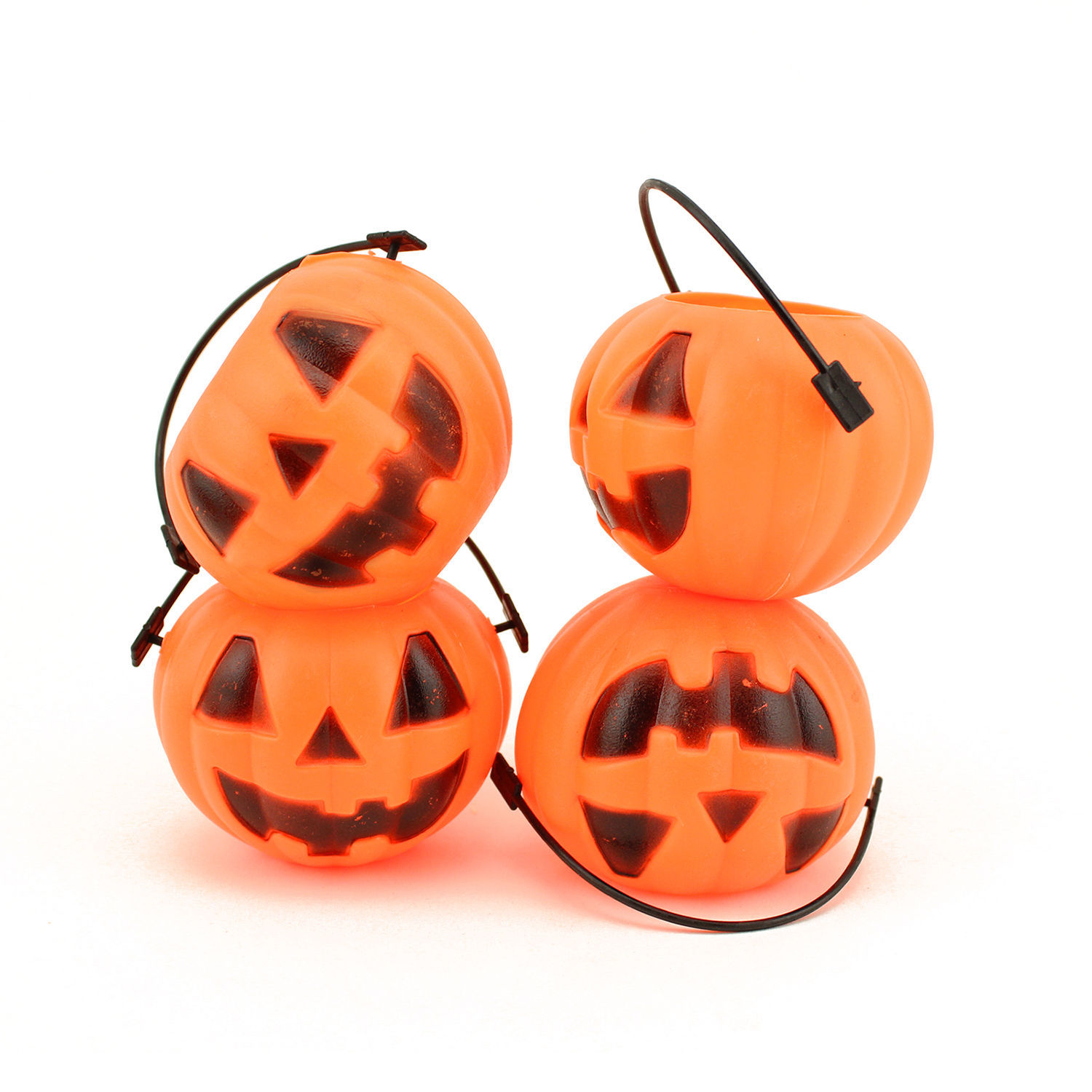 Small Mini Plastic Jack O Lantern Pumpkin Halloween Party Favor Candy Bucket