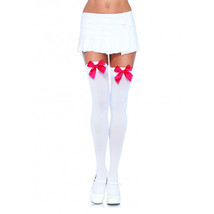 Leg Avenue White Opaque Thigh Highs With Red Satin Bow Accent Sexy Stock... - $110,39 MXN