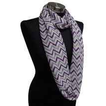 Chevron Sheer Infinity Scarf Purple/Grey/White Contrasting Colors Gift U... - $5.89