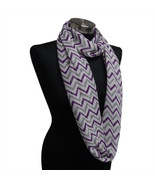 Chevron Sheer Infinity Scarf Purple/Grey/White Contrasting Colors Gift U... - €5,41 EUR