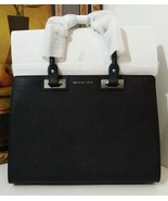 NWT MICHAEL MICHAEL KORS Quinn Large Saffiano Leather Satchel BLACK $378 - $289.00