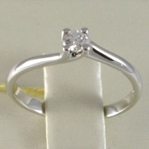 White Gold Ring 750 18k, Solitaire, Rounded Cross, Diamond, CT 0.12 image 2