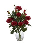 Silk Flower Arrangements Artificial Rose Bush With Vase Home Floral Deco... - £42.19 GBP