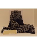 AUTHENTIC MICHAEL KORS GRAY WOMEN'S MONOGRAM SCARF AND HAT SET IN GIFT BOX - $41.57