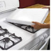 White Rectangular Gas Stove Burner Covers Extra Deep, Fits Most Ranges S... - $42.07