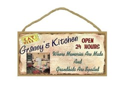 "5"" X 10"" GRANNY'S KITCHEN Where Memories are Made Grandkids Spoiled Wood... - $12.16"