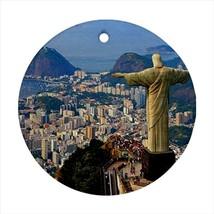 Christ The Redeemer Rio De Janeiro Round Porcelain Ornament - Holiday Se... - $7.71