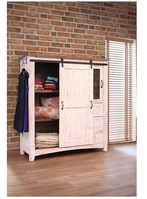 White Eliza Sliding Barn Door Gentlemans Chest Armoire - Solid Wood - Quality - Armoires & Wardrobes