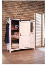 White Eliza Sliding Barn Door Gentlemans Chest ... - $1,321.57