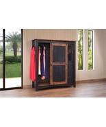 Black Eliza Sliding Barn Door Gentlemans Chest Armoire - Solid Wood - Qu... - $1,361.25