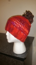 Red Messy Bun Handmade Crochet Hat/Pony Tail Beanie - $15.00