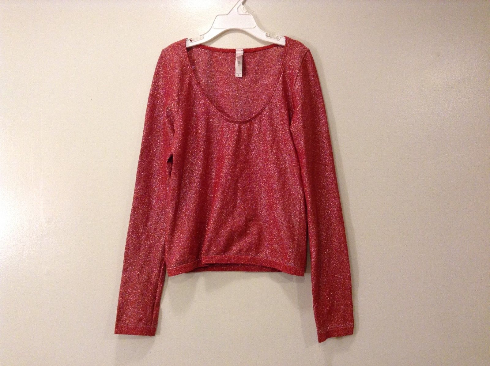 Victorias Secret Long Sleeve Metallic Red Silver Shiny Blouse Made In Italy Sz S