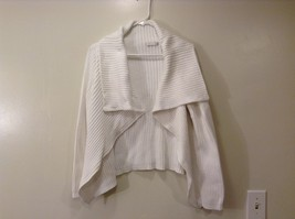 Cozy Ladies R White Cotton Sweater Wrap Sz 10 12