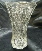Vintage Anchor Hocking Prescut Large Clear Vase, circa 1960s - $13.50