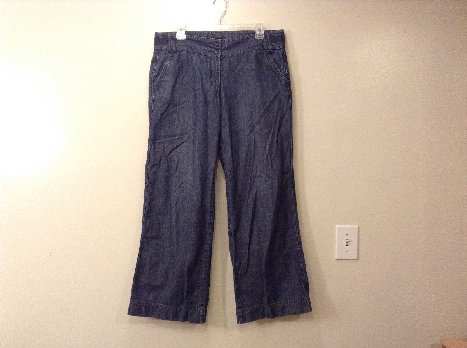 Ladies New York And Company Blue Gray Wide Leg Jeans Pants Sz 12A