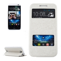 For HTC Desire 616 White Flip Leather Case with Call Display ID & Holder - $8.69